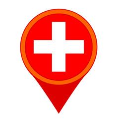 Colorful cartoon hospital map sign vector