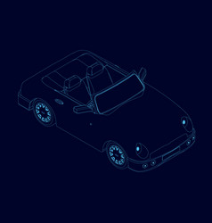 contour car cabriolet blue lines on a vector image