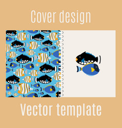 cover design with sea fish pattern vector image