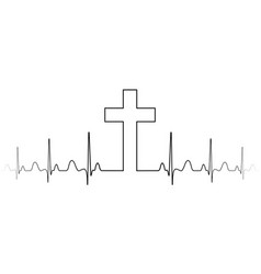 Cross mark symbol christian faith a single vector