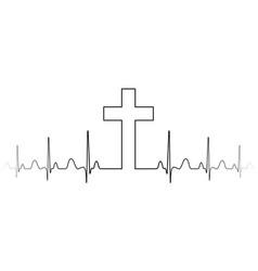cross mark symbol christian faith a single vector image