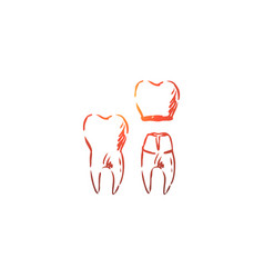 Crown dental root tooth health concept hand vector