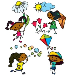 cute afroamerican girls characters vector image