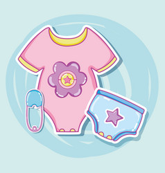 Cute baby clothes cartoons vector