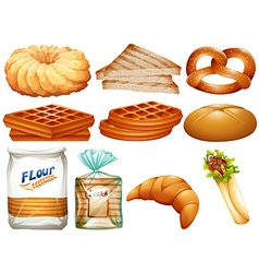 Different kinds of bread and desserts vector image