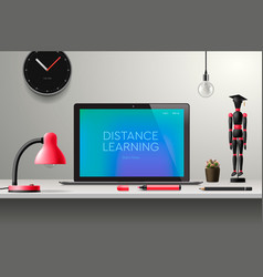distance learning online education workplace at vector image
