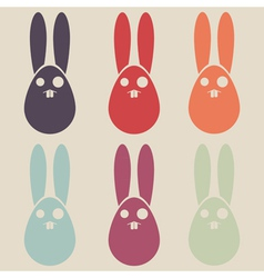 easter rabbit colorful collection vector image
