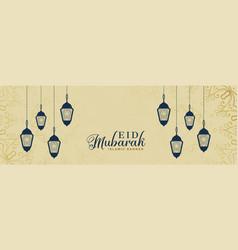 Elegant eid mubarak lamps decoration banner vector