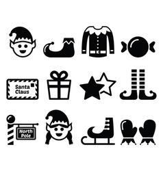 Elf Christmas icons set vector