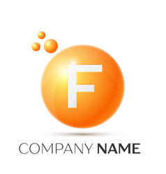 f letter splash orange dots and circle bubble vector image
