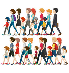 faceless people walking in group vector image