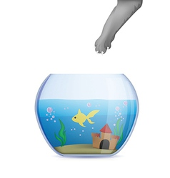 Fish bowl with cat paw vector