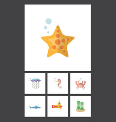 flat icon nature set of cancer seaweed sea star vector image