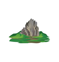 flat icon of big stony mountain surrounded vector image