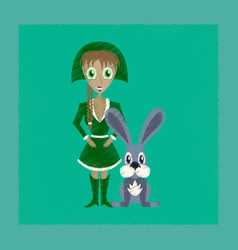 Flat shading style icon christmas girl rabbit vector