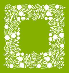 floral frame sketch for your design vector image
