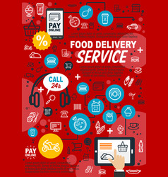 Food delivery service poster vector
