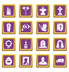 Funeral ritual service icons set purple square vector