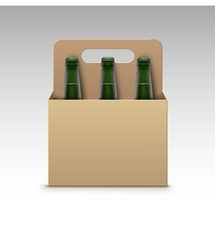 Glass green bottles of light beer with packaging vector