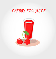 Glass of bio fresh cherry juice text title vector