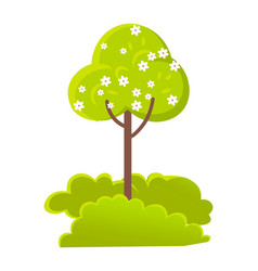 green plant tree with flowers bushes vector image