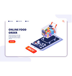 Grocery food delivery online order with mobile vector
