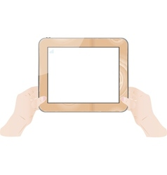 hand holding wood board vector image