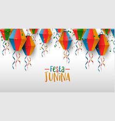 happy festa junina card party balloons vector image