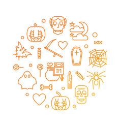happy halloween round colored greeting card vector image
