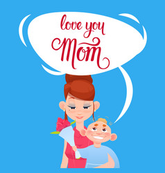Happy mother day son giving mom flowers spring vector