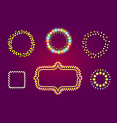 holidays christmas or casino lights frames vector image