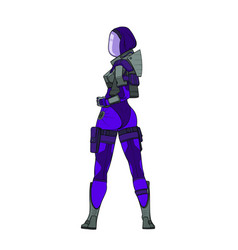 hot woman in a purple space suit with high detail vector image