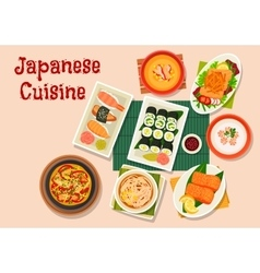 Japanese cuisine icon for seafood menu design vector