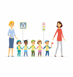 kindergarten teacher shows road rules - cartoon vector image
