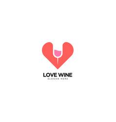 Love and wine logo design vector