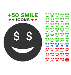 luck dollar smiley icon with bonus emotion set vector image