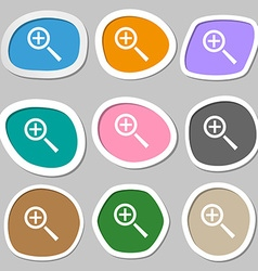 Magnifier glass Zoom tool icon sign Multicolored vector image