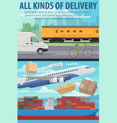 mail delivery by air plane ship or train vector image