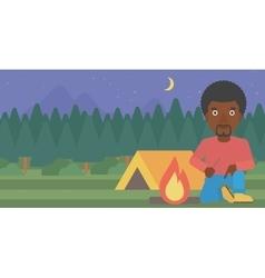 Man kindling campfire vector