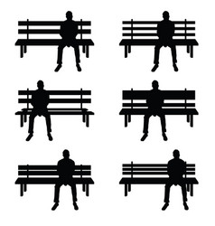 Man silhouette set sitting on park benches vector