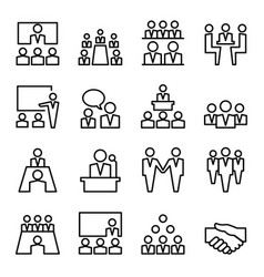Meeting conference line icon set vector