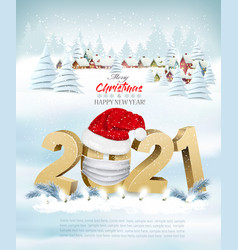 Merry christmas and new year background with 2021 vector