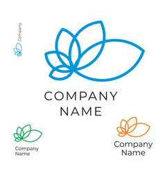 modern contour flower logo identity brand icon vector image