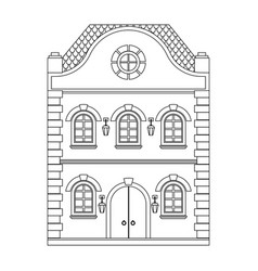 old european house flat outline drawing vector image