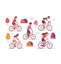 people riding bikes vector image
