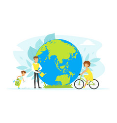 people taking care about planet ecology tiny vector image