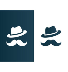 person hat and mustaches logo - isolated vector image