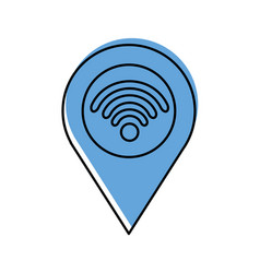 pointer map with wifi internet signal connection vector image