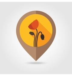 Poppy flat mapping pin icon vector