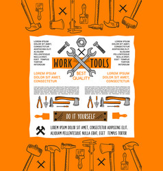 poster do it yourself home repair work tool vector image